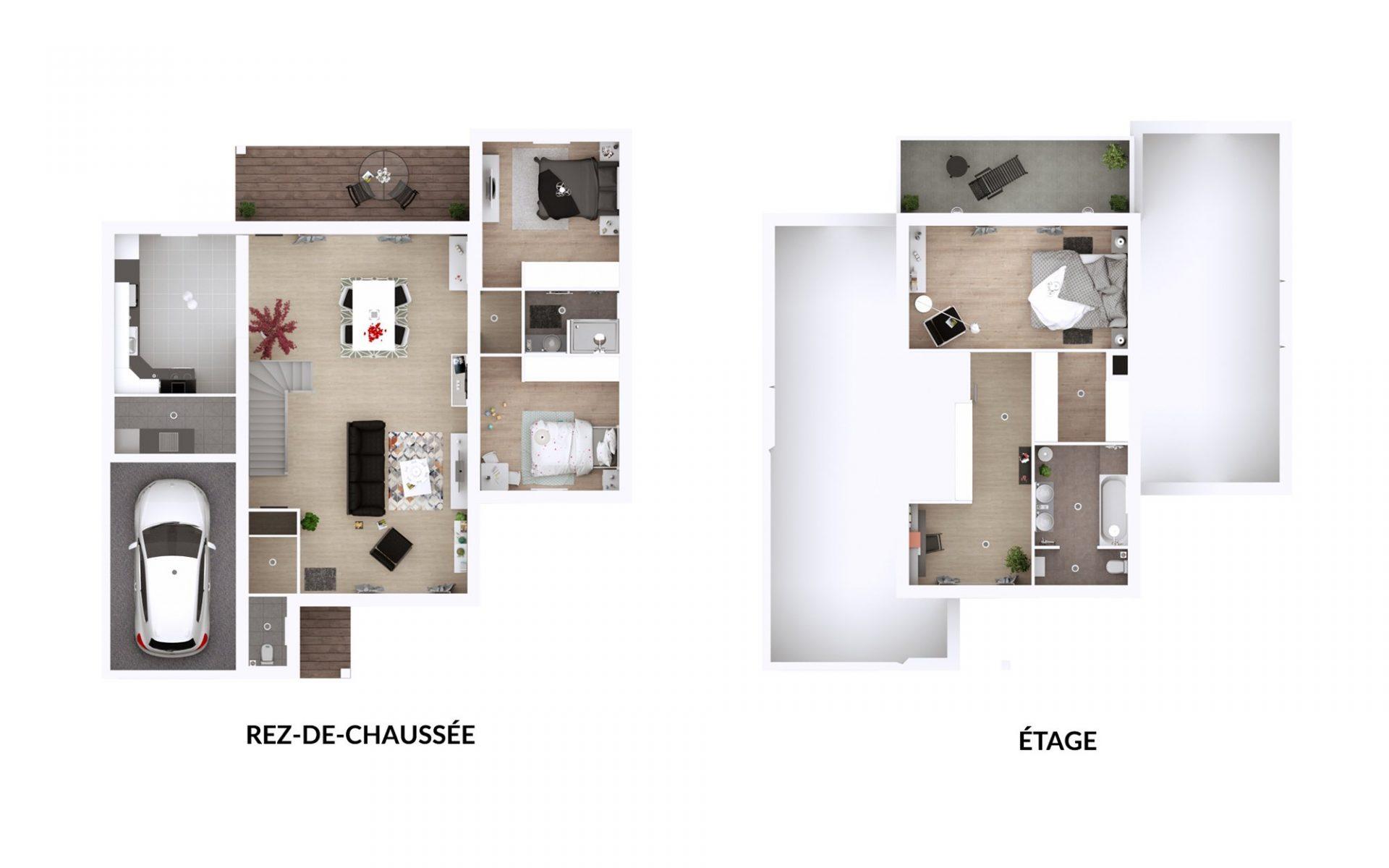 Plan 3D Eden | 115 et 126 m²