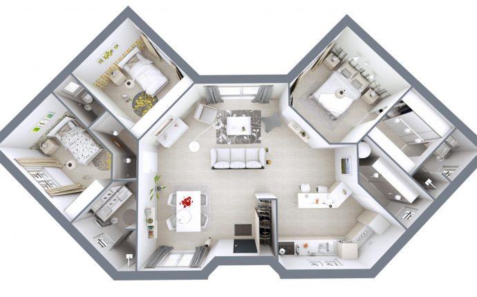 Plan 3D Lotus | 99 m²