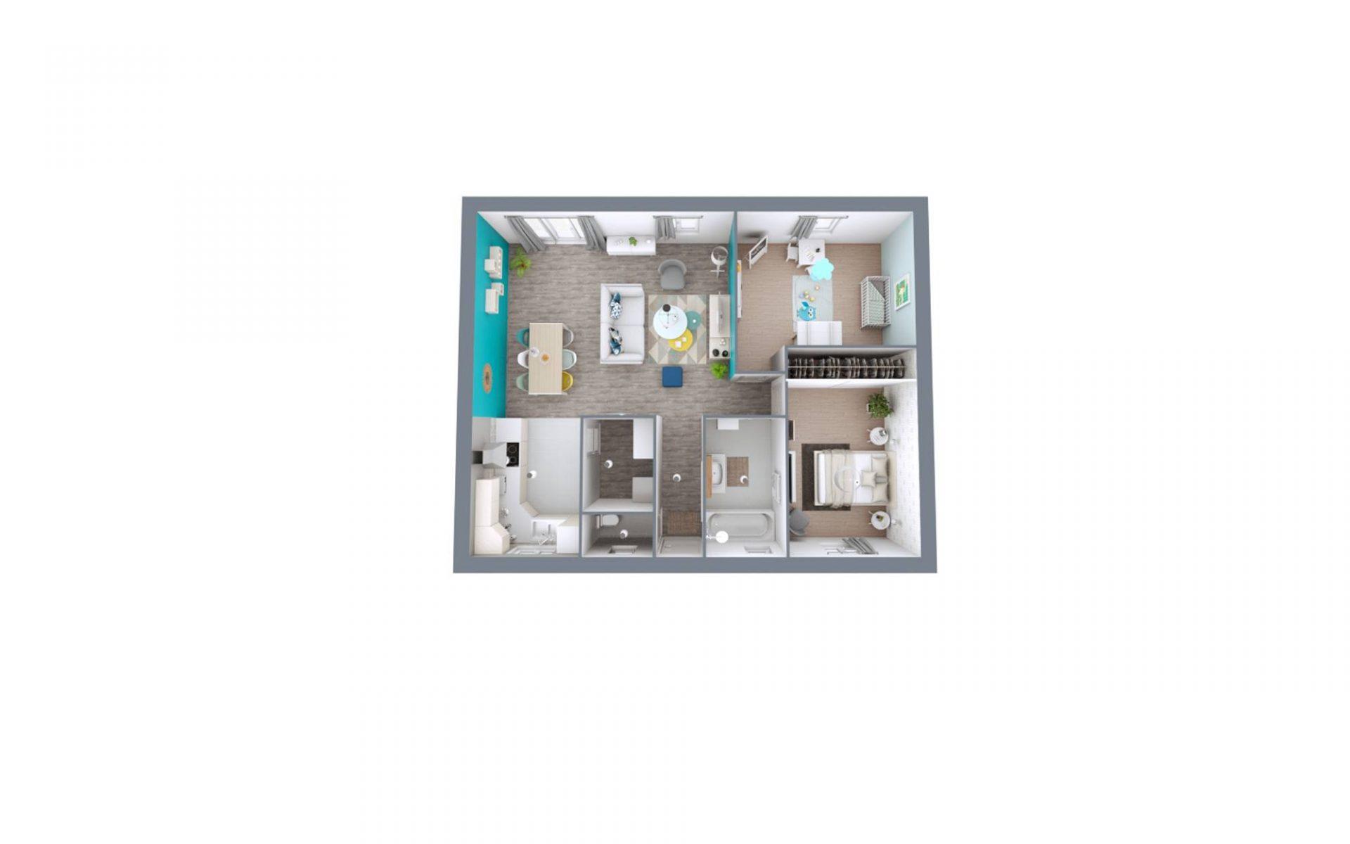 Plan 3D Rivage | 70 m²