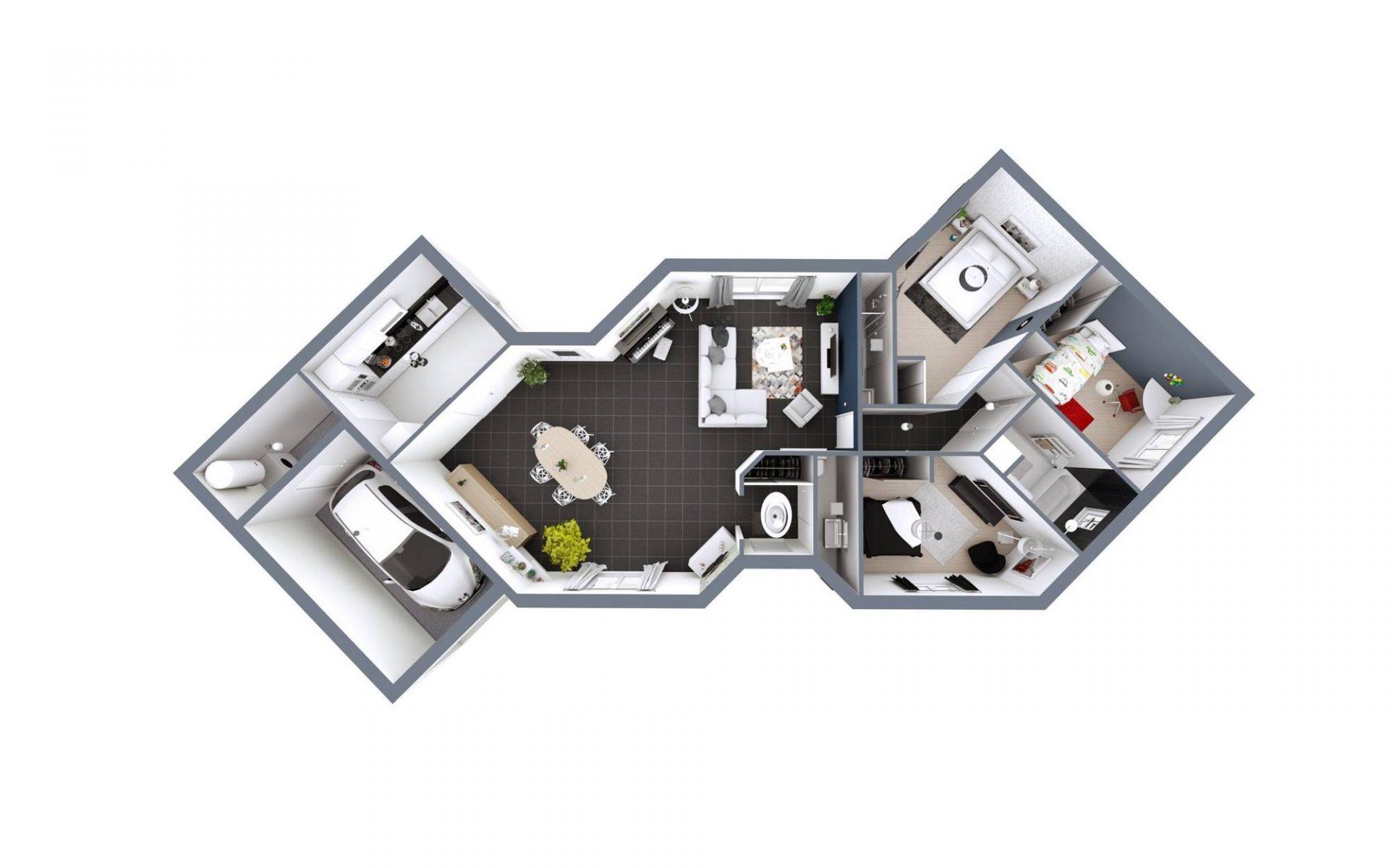 Plan 3D Diamant | 114 m²
