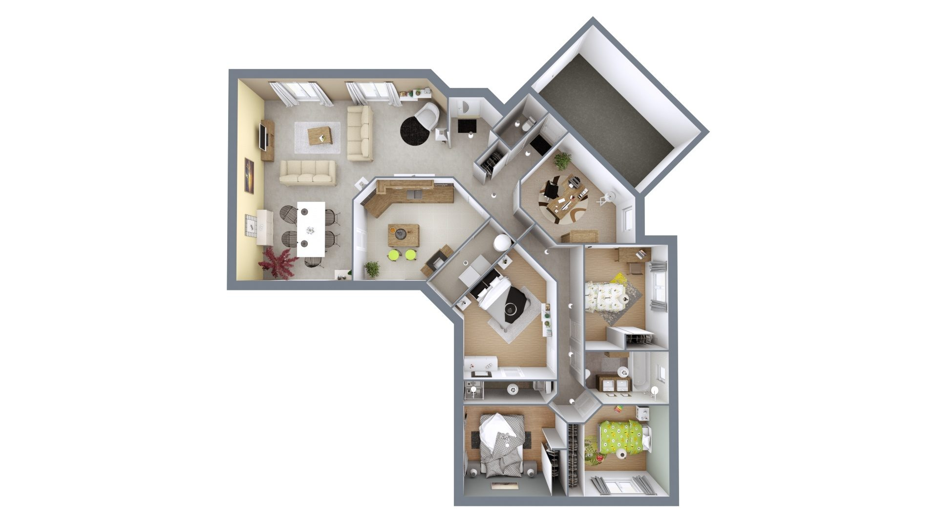 Plan 3D Plaisir Sud | 145 m²