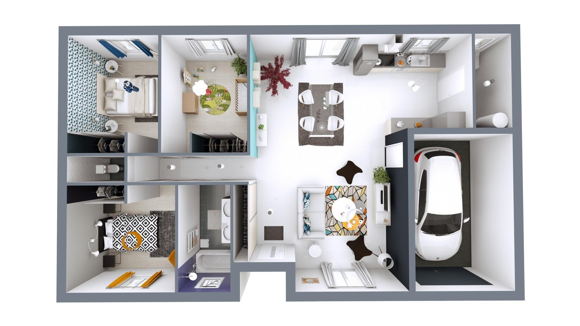 Plan 3D Jeune Budget | 92 m²