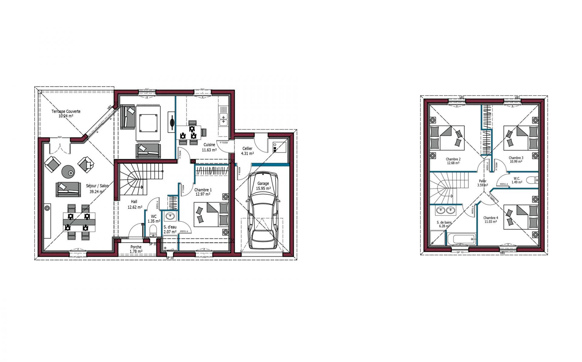 Modèle De Maison Arpège 130 M 4 Chambres Maisons Mca