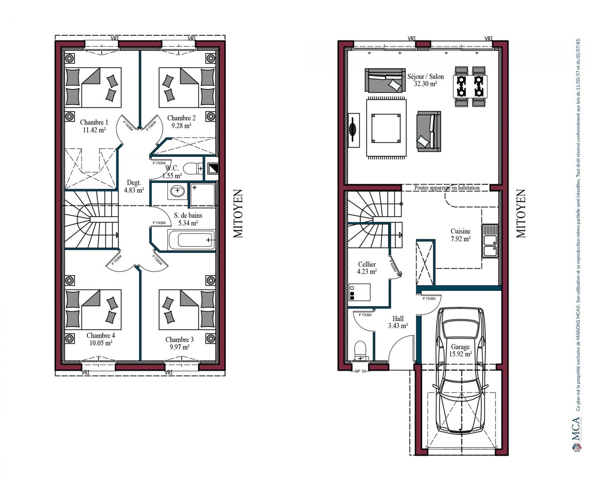 Modele De Maison Urbis 102 M 4 Chambres Maisons Mca