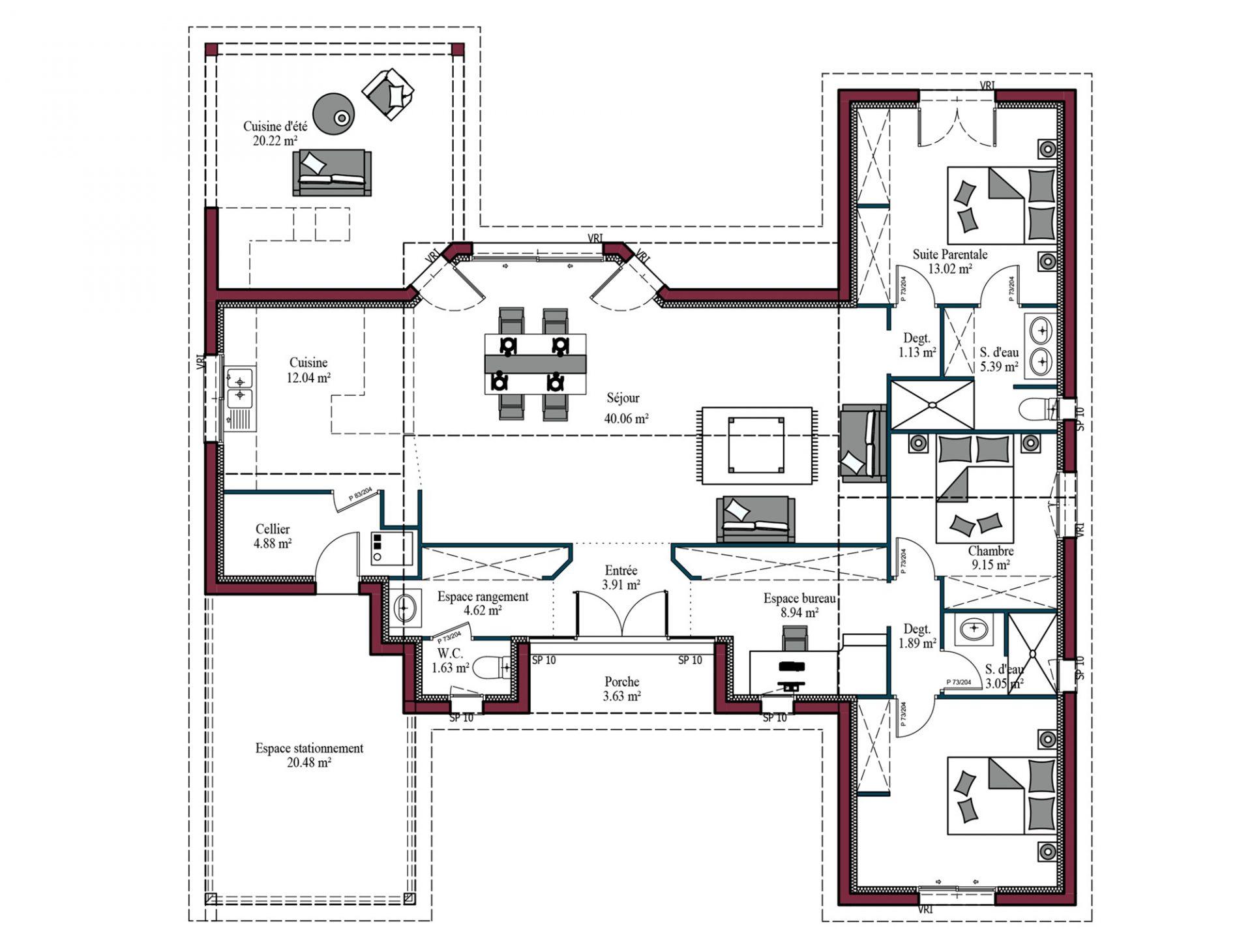 Plan maison Horizon | 122 m² | 3 chambres