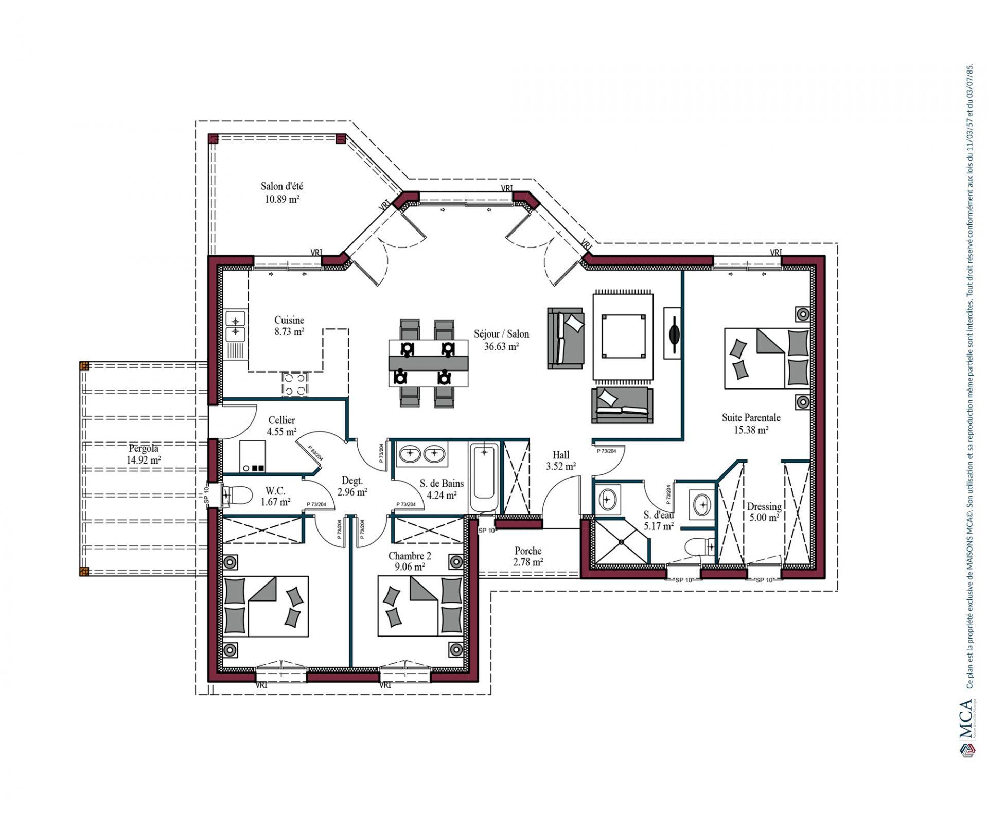 Plan De Maison Moderne modèle de maison lumière zen | 107 m² | 3 chambres | maisons mca
