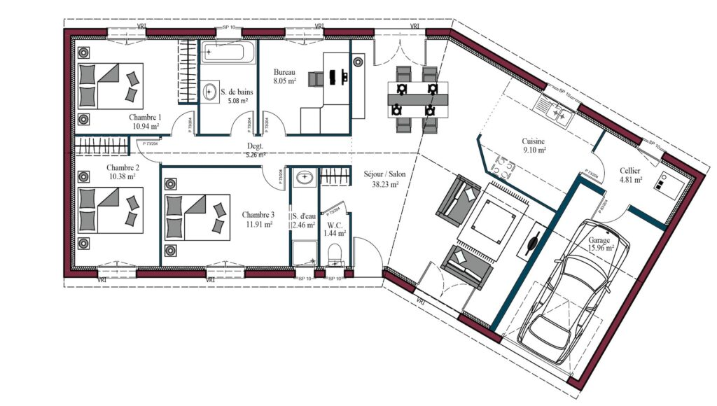 Plan Maison Plain-pied Garonne 107