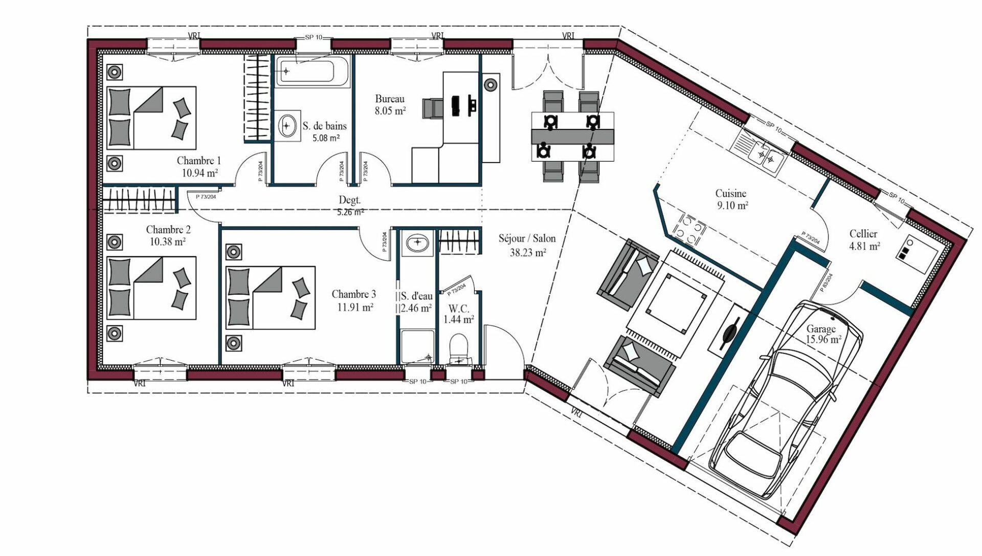 Plan Garonne   107 m²