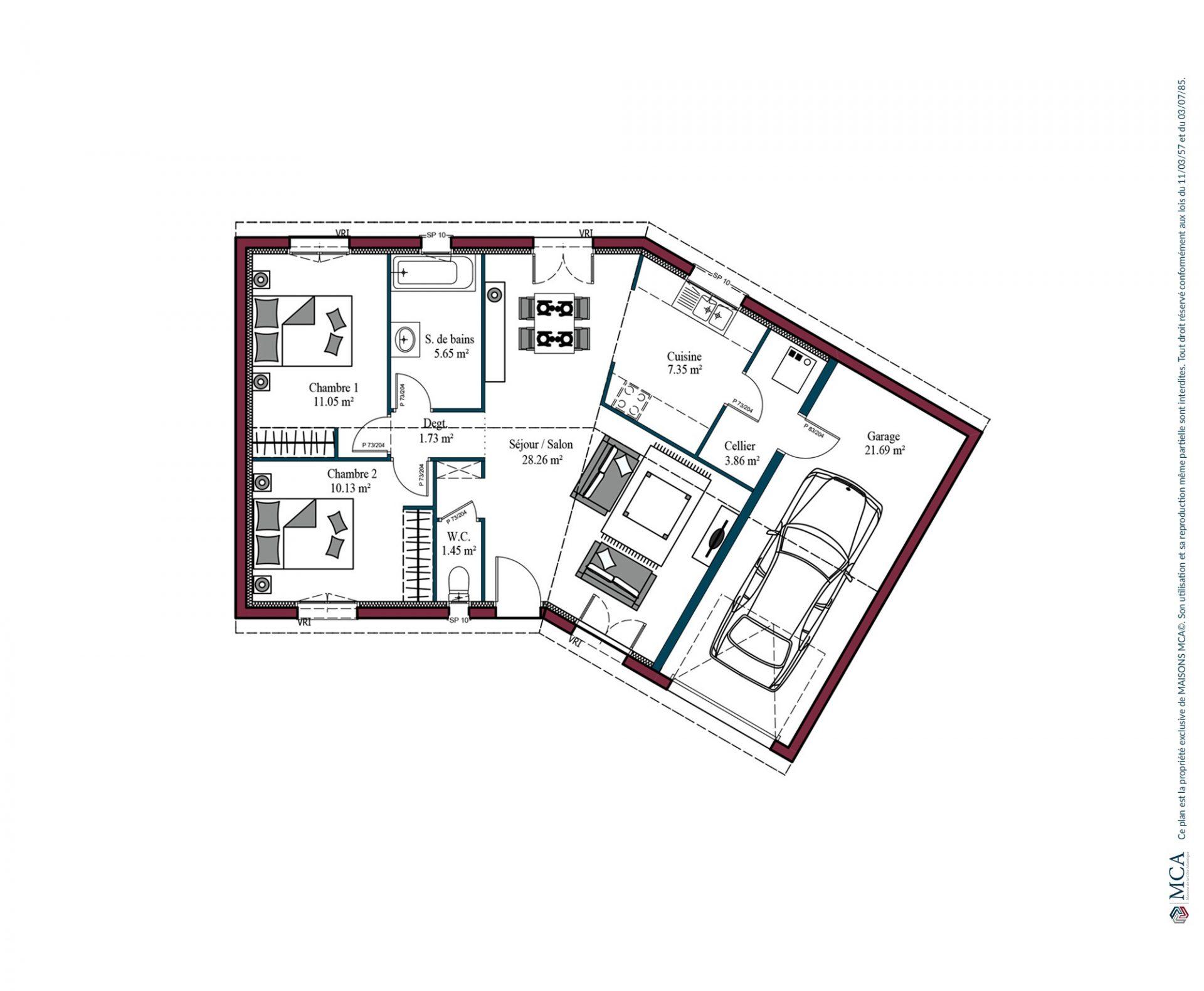 Plan Garonne   69 m²