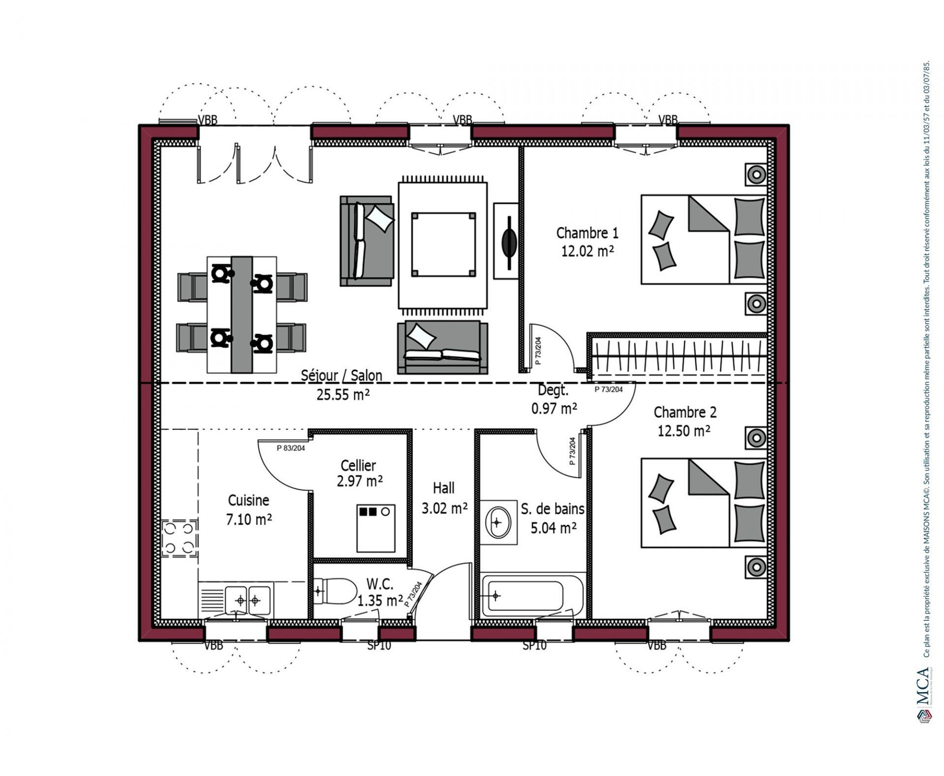 Modele De Maison Rivage 70 M 2 Chambres Maisons Mca