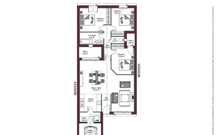 Modele De Maison Sweet 91 A 99 M 3 Chambres Maisons Mca