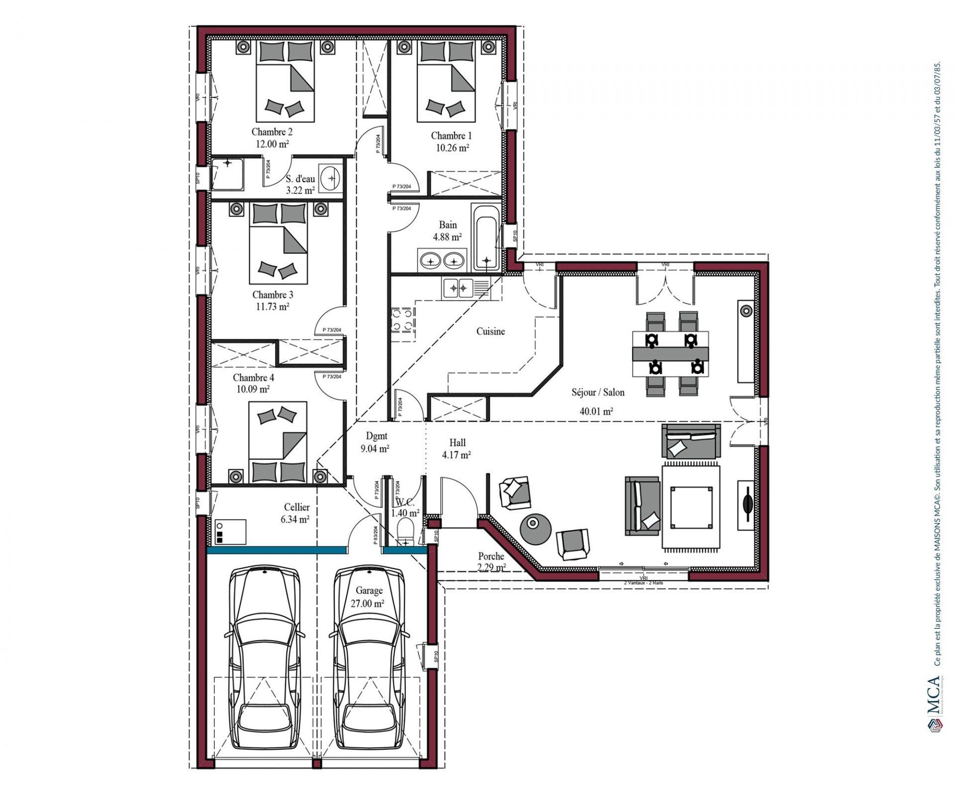 plan Aunis | 125 m²
