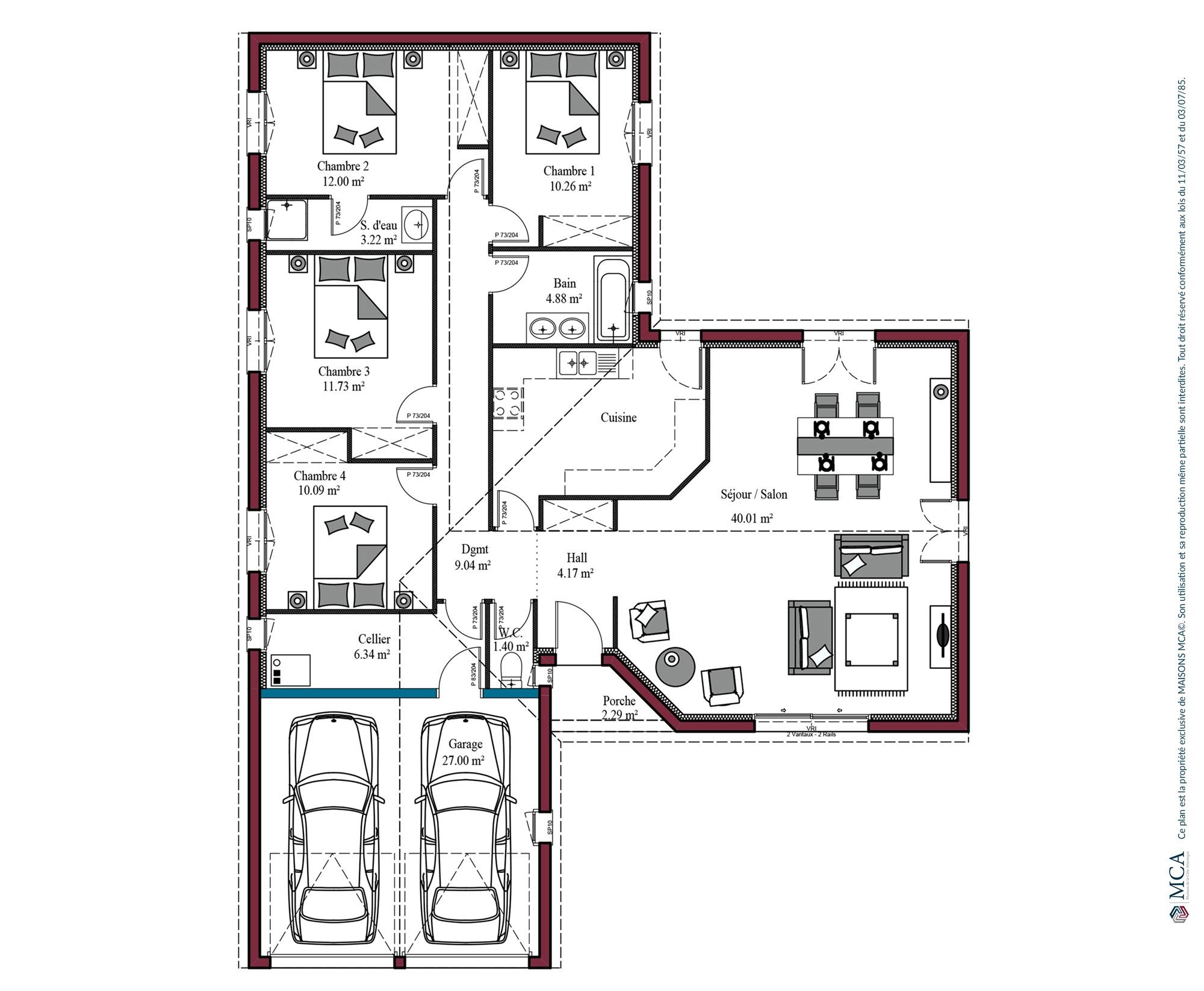 Modèle de maison Aunis | 100 à 125 m² | 3 ou 4 chambres | Maisons MCA