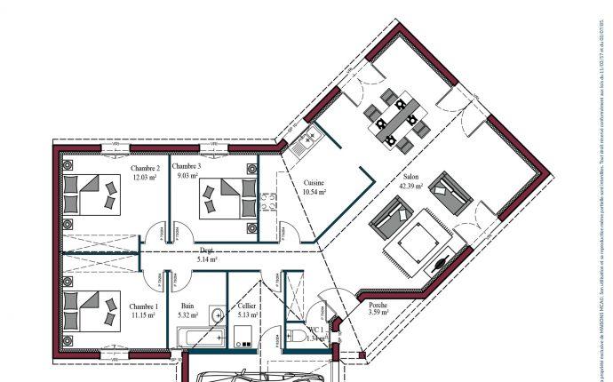 Plan maison charentaise Marennes | 102 m²
