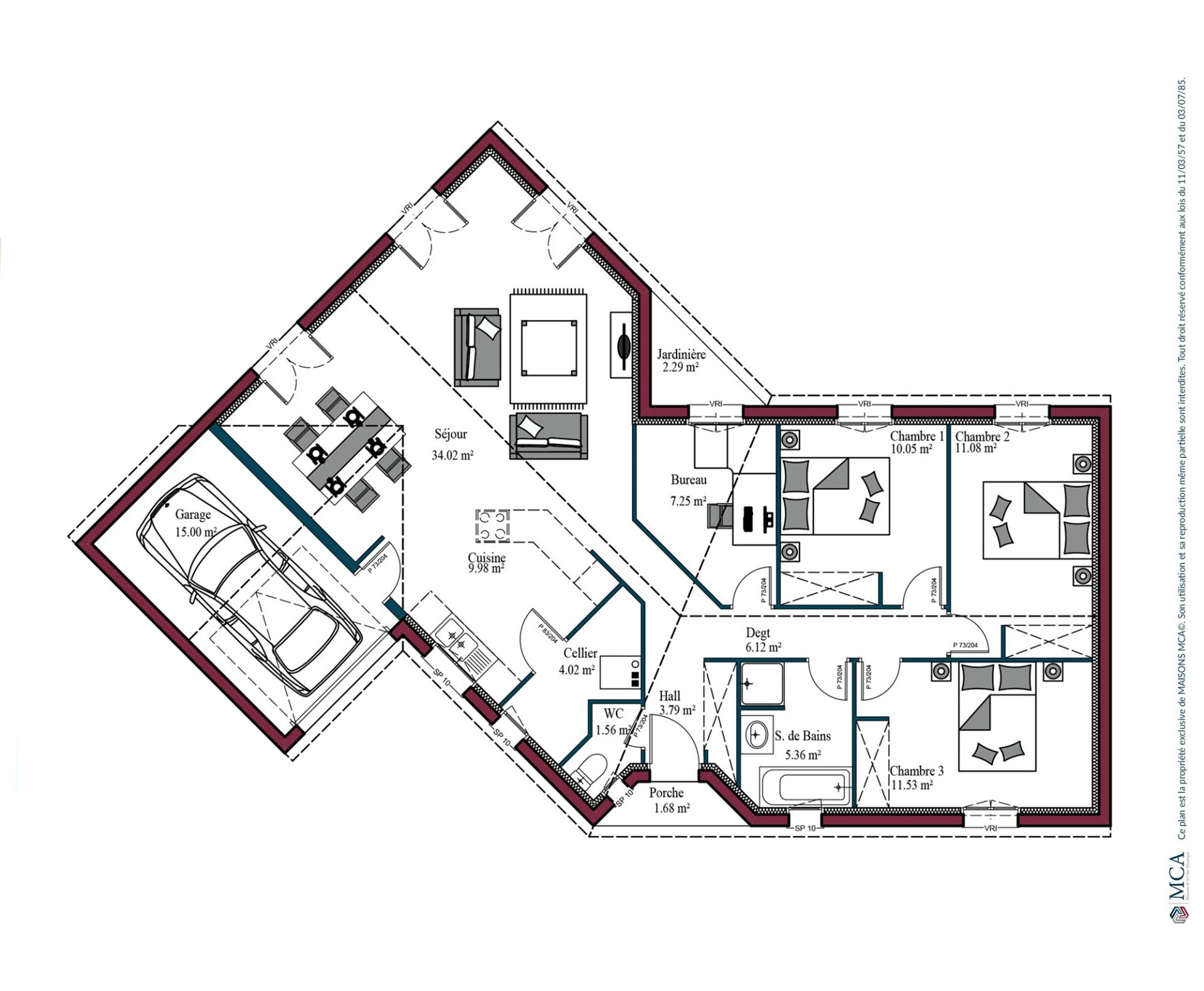 Plan maison charentaise Marennes | 104 m²