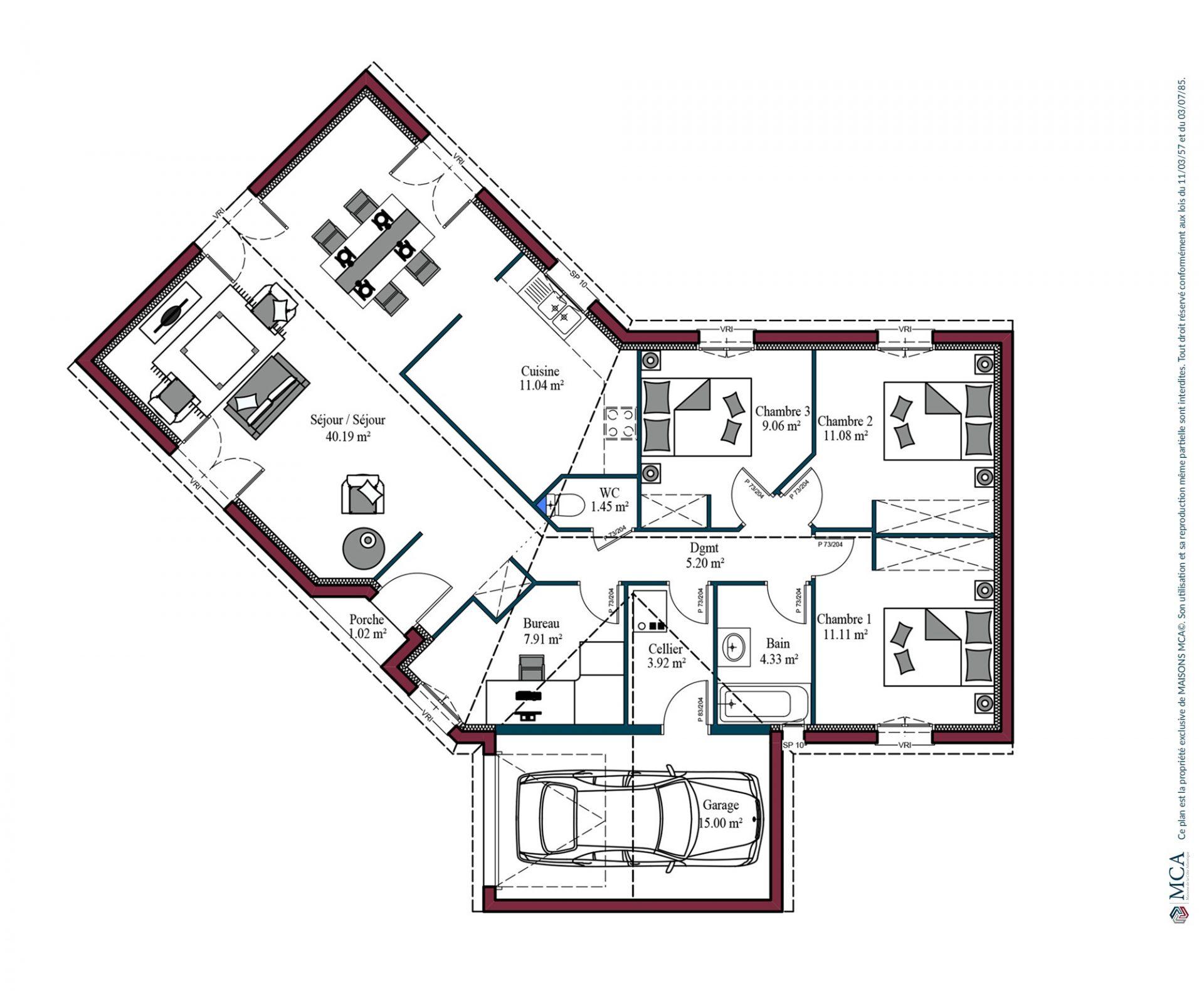 Plan maison charentaise Marennes | 105 m²