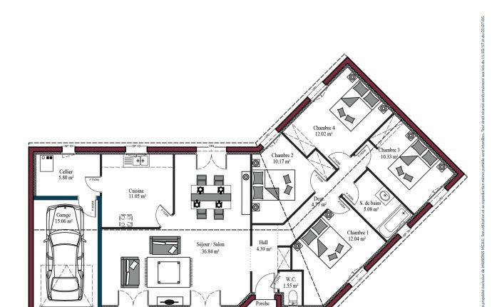 Plan maison charentaise Marennes | 114 m²