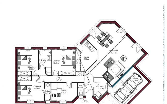 Plan maison charentaise Marennes | 115 m²