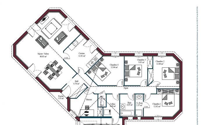 Plan maison charentaise Marennes | 132 m²