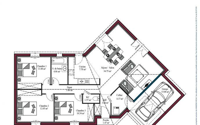 Plan maison charentaise Marennes | 95 m²
