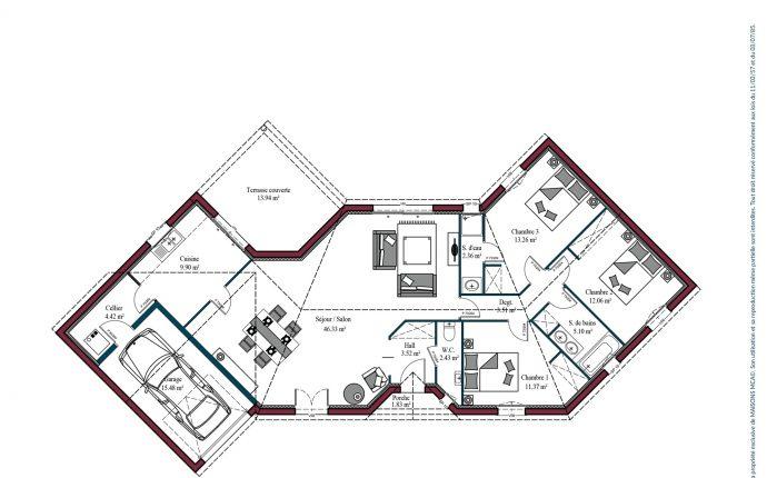 Plan maison charentaise Cognac | 114 m²