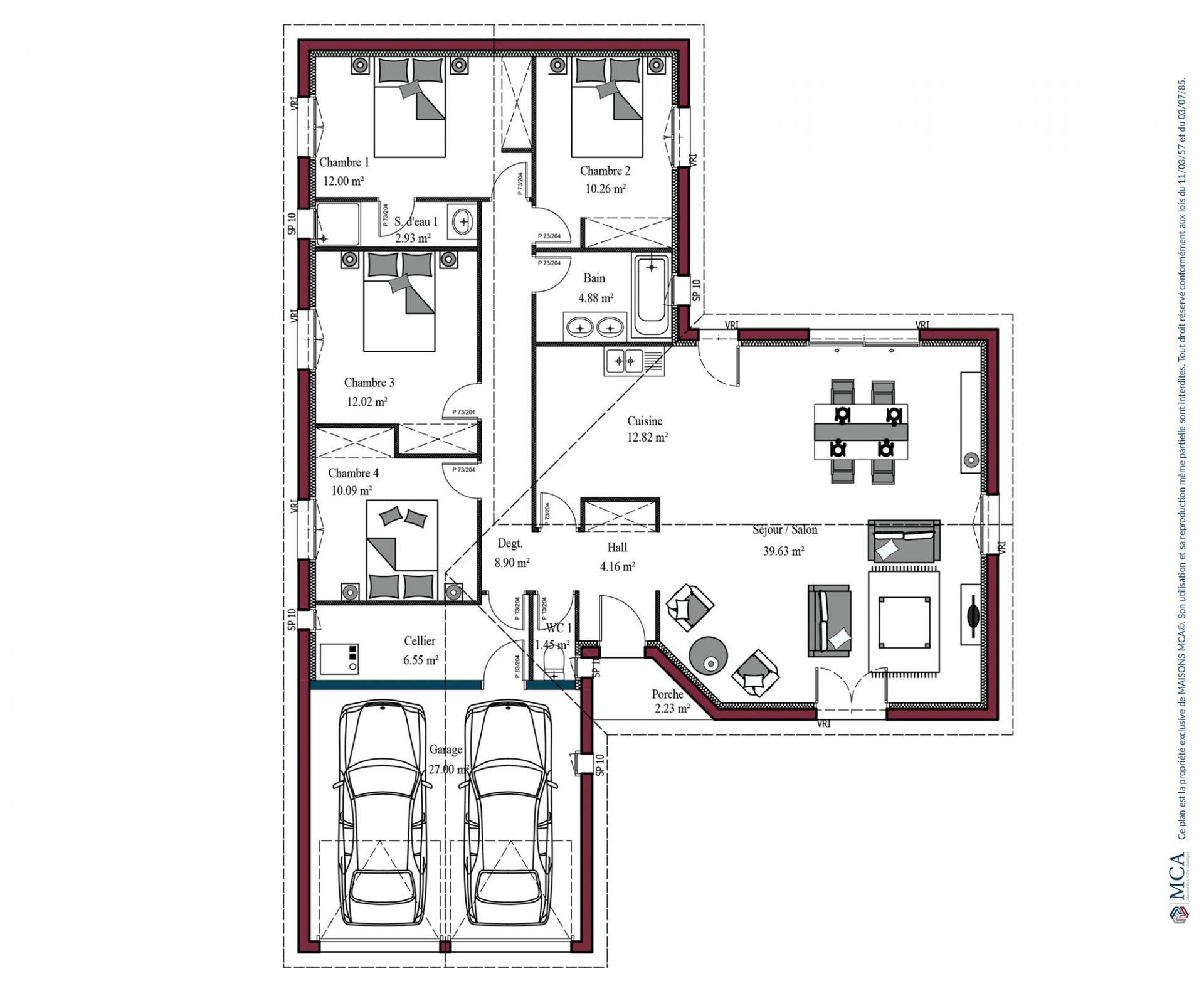 Modele De Maison Atlanta 100 A 125 M 3 4 Chambres Maisons Mca