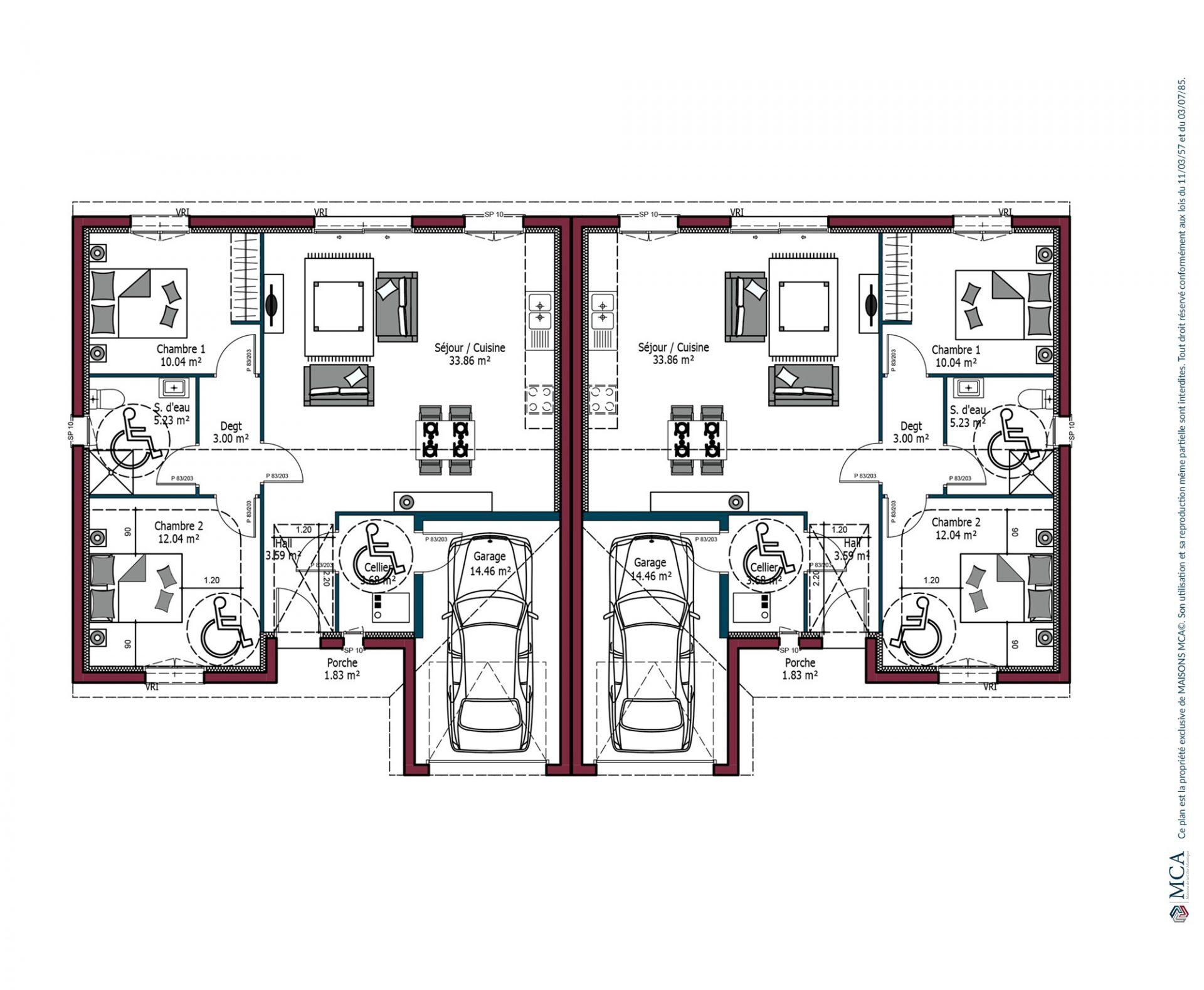 Modele De Maison Omega Investisseur 71 Ou 89 M 2 3 Chambres Maisons Mca