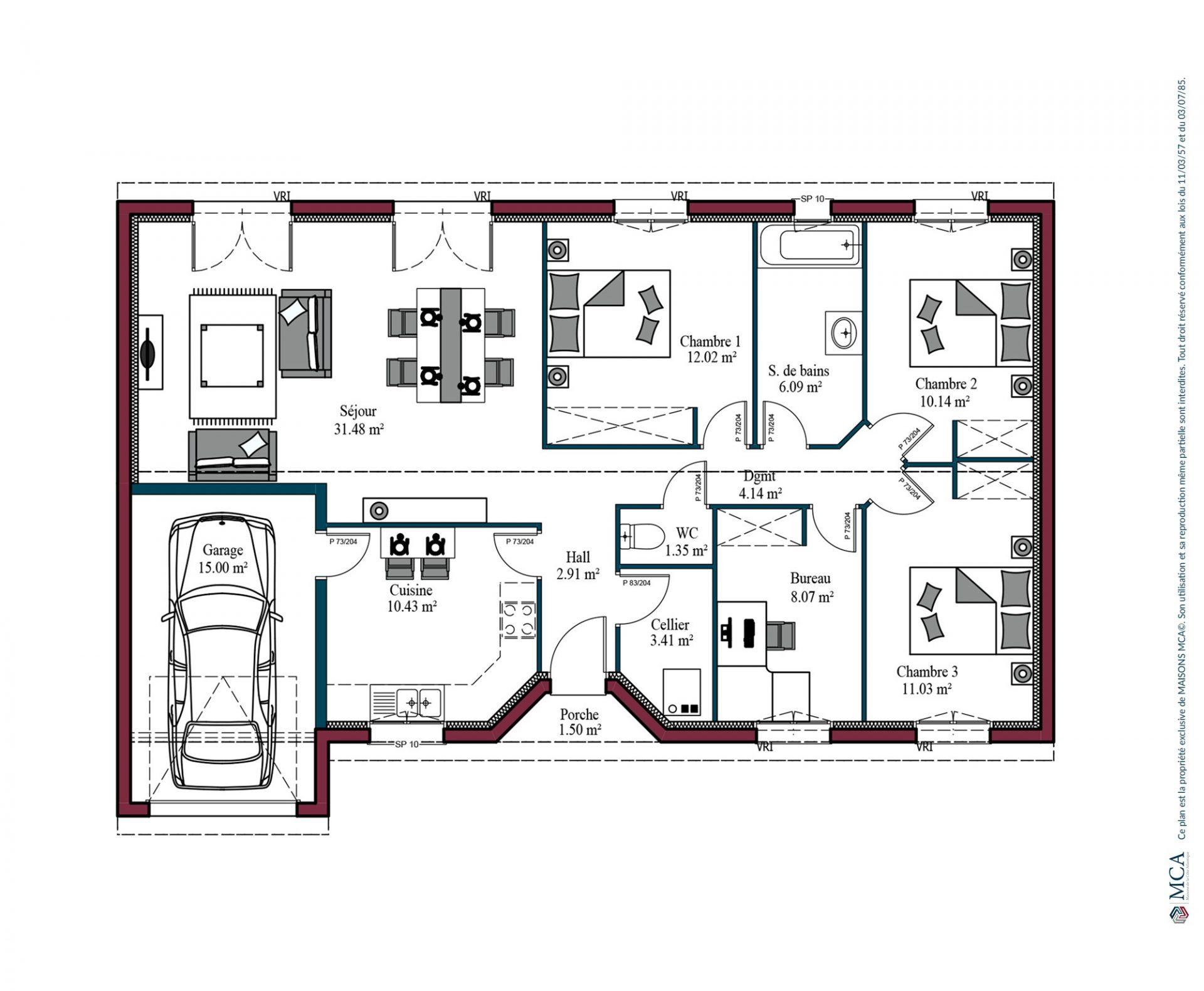 Plan maison mca ventana blog - Plan maison plain pied 1 chambre ...