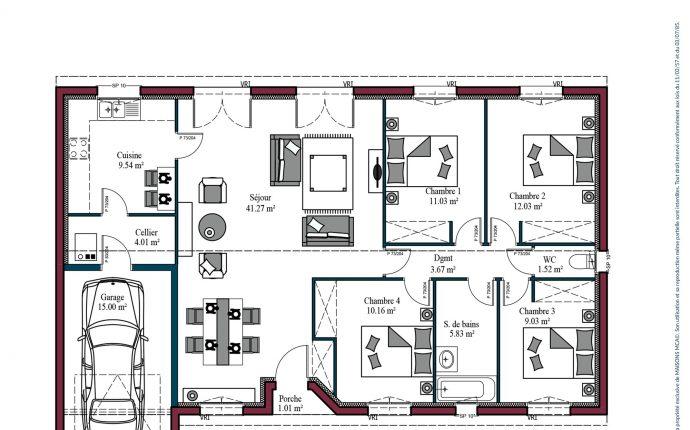 Modèle De Maison Aurore 85 à 128 M 3 Ou 4 Chambres