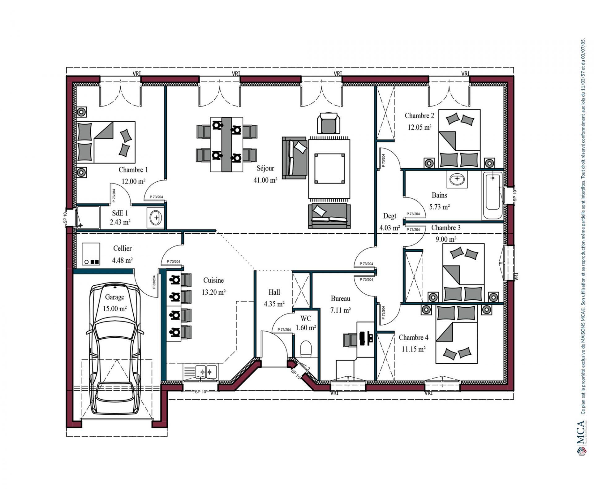 Plan Aurore   128 m²