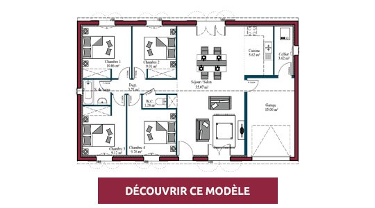 plan maison 4 chambres littoral